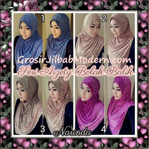 Jilbab Instant Modern Arzety Polka Bolak Balik Salur Jeans Original by Narinda Series