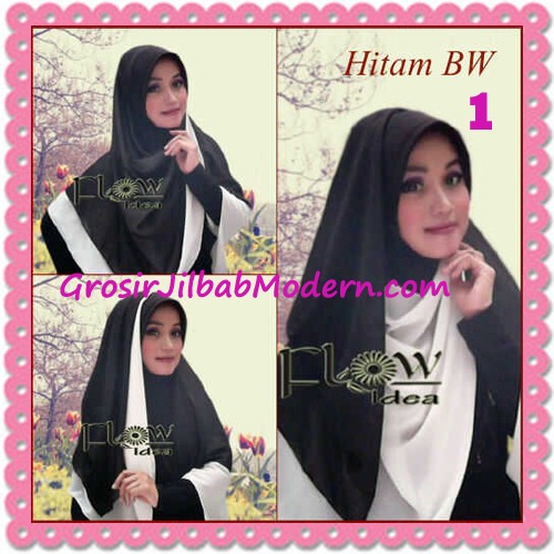 Jilbab Syria Instant Bergo Pet Aliya Model Baru by Flow Idea No 1- Hitam Broken White
