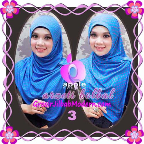 Jilbab Syria Arzety Bolak Balik Polka Bintang Original Apple Hijab Brand No 3 Biru