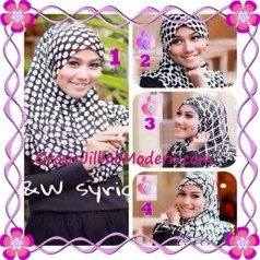 Jilbab Syria Exclusive Black and White Cantik Original By Apple Hijab Brand Series