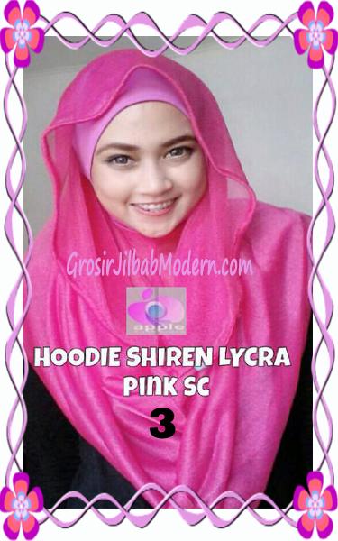 Jilbab Syria Hoodie Instant Shiren Lycra by Apple Hijab Brand No 3 Shocking Pink