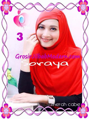 Jilbab Syria Kerut Soraya Original by Apple Hijab Brand No 3 Merah