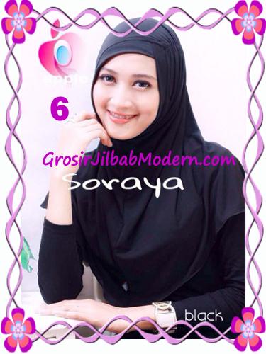 Jilbab Syria Kerut Soraya Original by Apple Hijab Brand No 6 Hitam