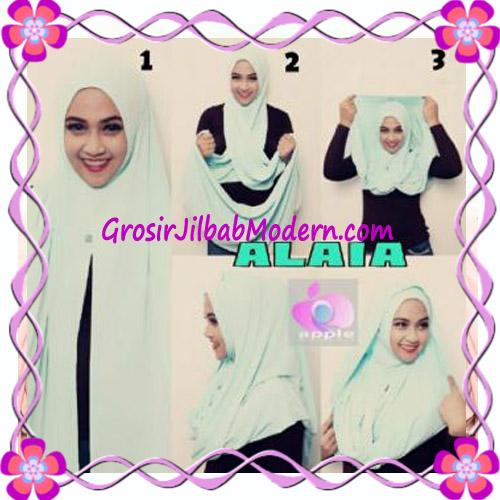 Jilbab  Pashmina Instan Hoodie Alaia Plain by Apple Hijab Brand - Cara Pakai 2