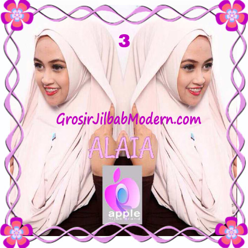 Jilbab  Pashmina Instan Hoodie Alaia Plain by Apple Hijab Brand No 3 Cream