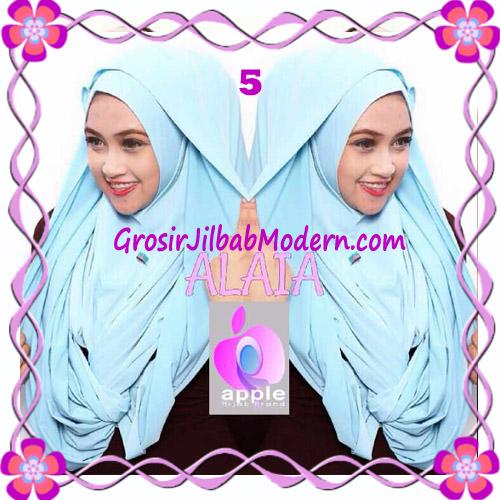 Jilbab  Pashmina Instan Hoodie Alaia Plain by Apple Hijab Brand No 5 Blue