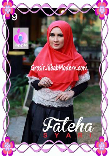 Khimar Cerutti Modis Cantik Fateha  by Apple Hijab Brand No 9 Merah