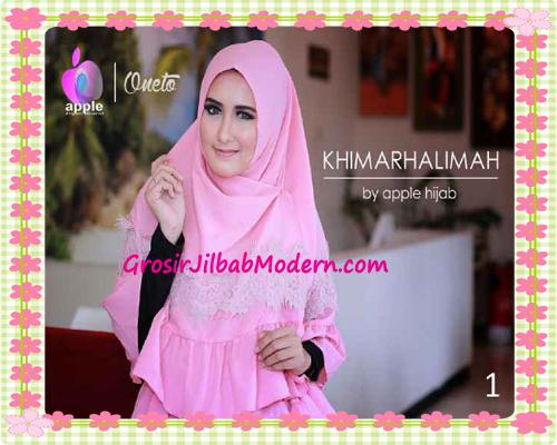 Hijab Syar'i Khimar Halimah Cantik Original By Apple Hijab Brand No 1 Dusty Pink