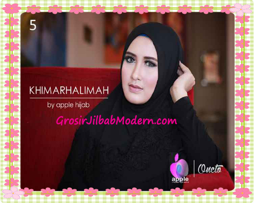 Hijab Syar'i Khimar Halimah Cantik Original By Apple Hijab Brand No 5 Hitam