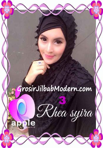 Jilbab Instant Modis Rhea Syria Ruffle Original by Apple Hijab Brand No 3 Hitam