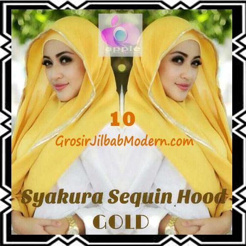 Jilbab Instant Syria Hoodie Syakura Sequin Original by Apple Hijab Brand No 10 Gold