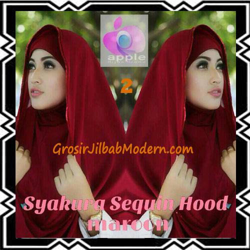 Jilbab Instant Syria Hoodie Syakura Sequin Original by Apple Hijab Brand No 2 Maron