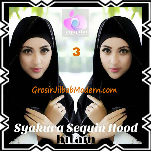 Jilbab Instant Syria Hoodie Syakura Sequin Original by Apple Hijab Brand No 3 Hitam