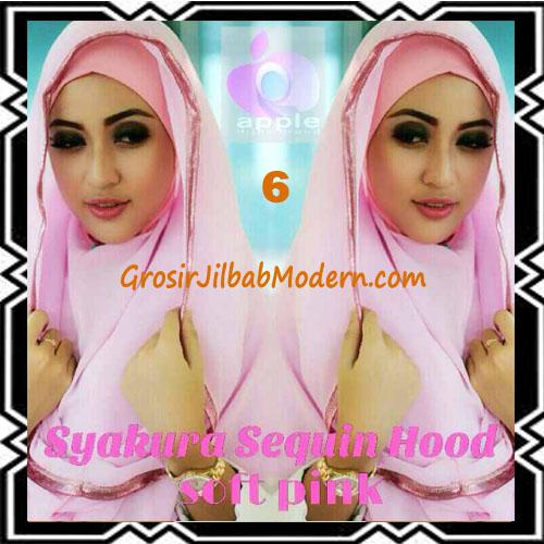 Jilbab Instant Syria Hoodie Syakura Sequin Original by Apple Hijab Brand No 6 Soft Pink