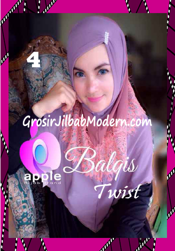 Jilbab Syria Cantik dan Mewah Balkis Twist Original by Apple Hijab Brand No 4 Lilac - Coklat
