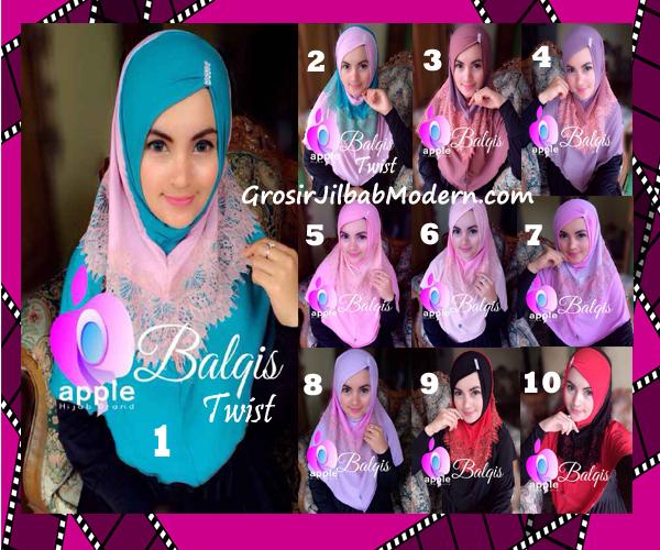 Jilbab Syria Cantik dan Mewah Balkis Twist Original by Apple Hijab Brand Series