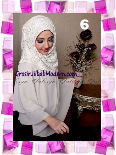 Khimar Pesta Instant Cantik Ghaida Syria Pashmina by Qalisya No 6 Cream