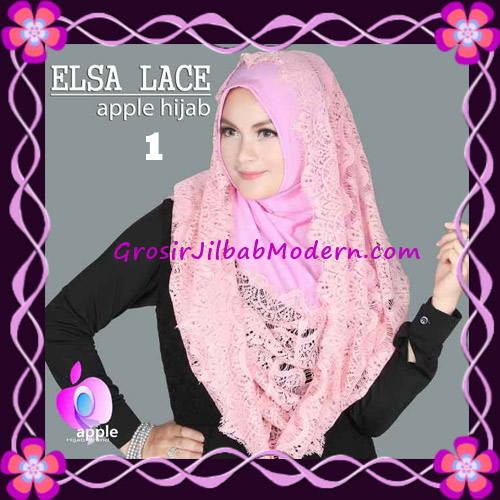 Jilbab Instant Terbaru Elsa Lace Hoodie Premium by Apple Hijab Brand No 1 Dusty Pink
