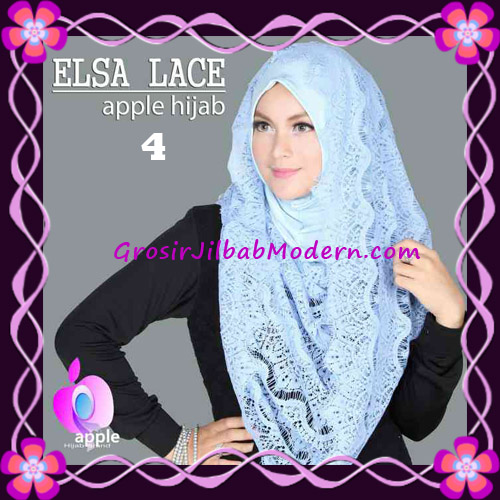 Jilbab Instant Terbaru Elsa Lace Hoodie Premium by Apple Hijab Brand No 4 Blue Sky