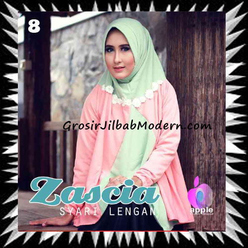 Jilbab Lengan Bergo Pet Syar'i Zascia Original by Apple Hijab Brand No 8 Mint