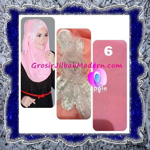 Jilbab Pesta Modern Pastan Deasy Cantik Original by Apple Hijab Brand No 6 Peach