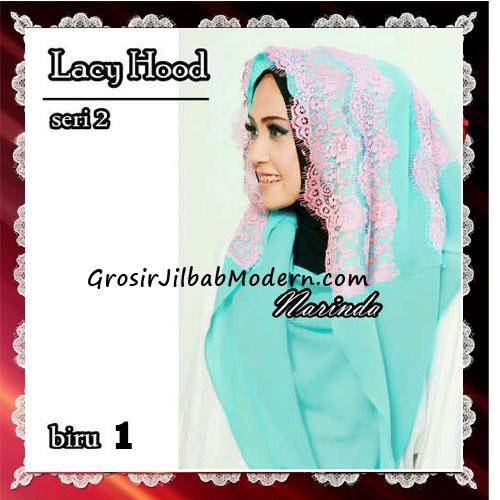 Jilbab Hoodie Instant Modern Trendy Lacy Hood Seri 2 Original By Narinda No 1 Biru