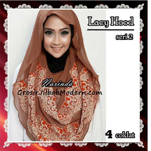 Jilbab Hoodie Instant Modern Trendy Lacy Hood Seri 2 Original By Narinda No 4 Coklat