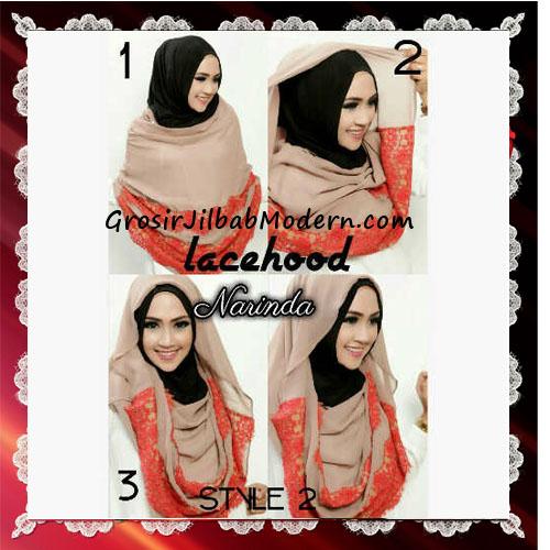 Jilbab Hoodie Instant Modern Trendy Lacy Hood Seri 2 Original By Narinda - Tutorial Style 2