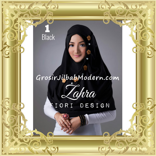 Jilbab Instant Syria Premium Zahra Terbaru By Fiori Design No 1 Black
