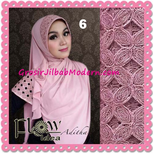 Jilbab Modern Terbaru Syria Aditha Original By Flow Idea No 6 Pink Tua