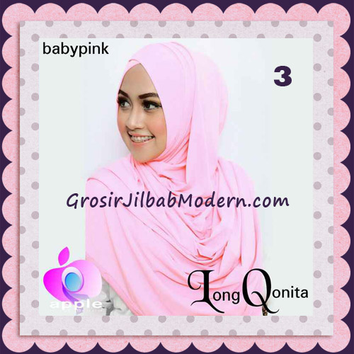 Jilbab Instant Syria Long Qonita Hoodie Cantik Original Apple Hijab Brand No 3 Baby Pink