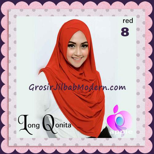 Jilbab Instant Syria Long Qonita Hoodie Cantik Original Apple Hijab Brand No 8 Red