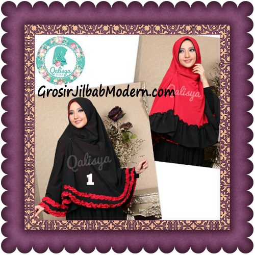 Jilbab Khimar Dafinah Cerutti Jumbo Bolak Balik Dua Warna Original Qalisya No 1 Hitam Merah