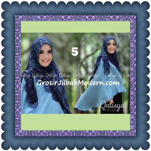 Jilbab Khimar Syar'i Elegan Halwa Brukat Seri 2 Trendy By Qasilya Brand No 5 Biru