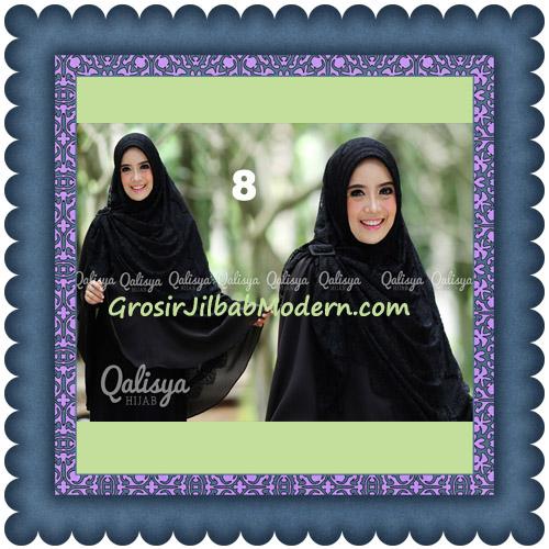 Jilbab Khimar Syar'i Elegan Halwa Brukat Seri 2 Trendy By Qasilya Brand No 8 Hitam