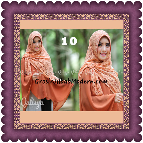 Jilbab Khimar Syar'i Halwa Brukat Modis Trendy By Qasilya Brand No 10 Oren Bata
