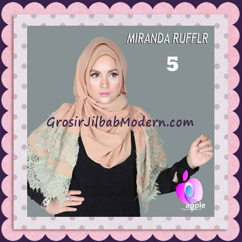 Jilbab Pashmina Instant Unik dan Cantik Premium Miranda Ruffle Original By Apple Hijab Brand No 5 Coksu