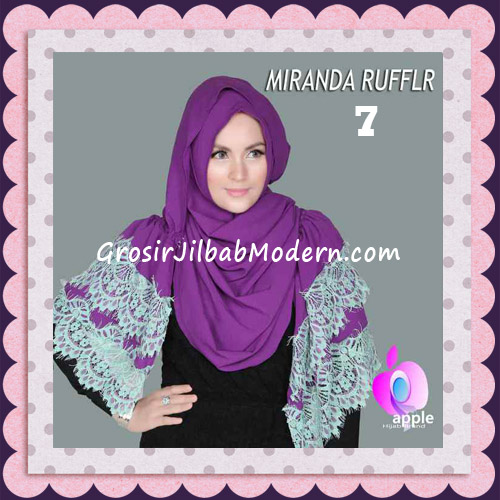 Jilbab Pashmina Instant Unik dan Cantik Premium Miranda Ruffle Original By Apple Hijab Brand No 7 Ungu
