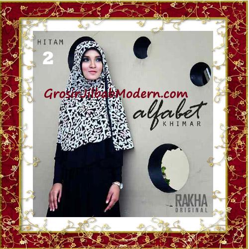 Jilbab Cerutti Jumbo Trendy Khimar Alfabet Original by Rakha Brand No 2 Hitam