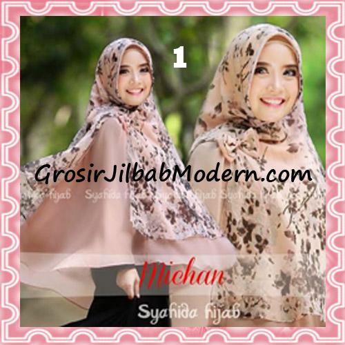 Jilbab Kombinasi Flower dan Polos Khimar Michan Pet Original by Syahida No 1