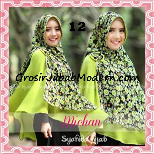 Jilbab Kombinasi Flower dan Polos Khimar Michan Pet Original by Syahida No 12