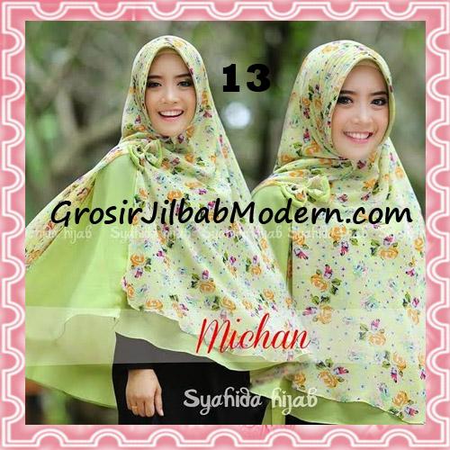 Jilbab Kombinasi Flower dan Polos Khimar Michan Pet Original by Syahida No 13