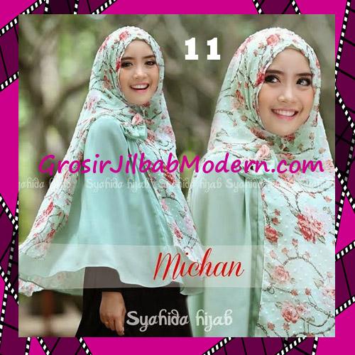 Jilbab Kombinasi Flower dan Polos Khimar Michan Tanpa Pet Original by Syahida No 11