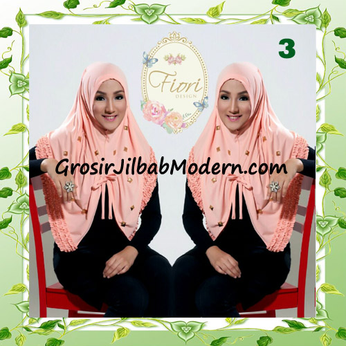 Jilbab Langsung Pakai Modis Syria Daily Studded Original Fiori Design No 3  Baby Orange