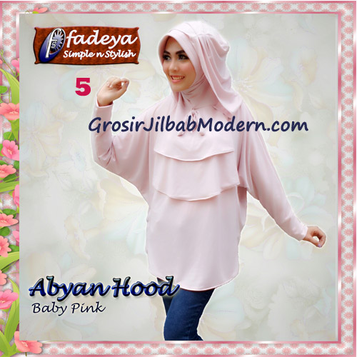Jilbab Bergo Lengan Modis Abyan Hoodie Original by Fadeya No 5 Baby Pink