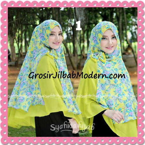 Jilbab Kombinasi Polos dan Flower Khimar Michan Non Pet Seri 2 Original by Syahida No 1