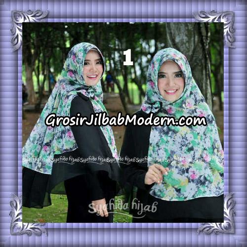 Jilbab Kombinasi Polos dan Flower Khimar Michan Pet Seri 2 Original by Syahida No 1