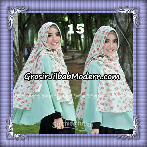 Jilbab Kombinasi Polos dan Flower Khimar Michan Pet Seri 2 Original by Syahida No 15