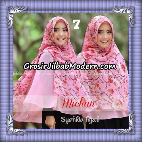 Jilbab Kombinasi Polos dan Flower Khimar Michan Pet Seri 2 Original by Syahida No 7