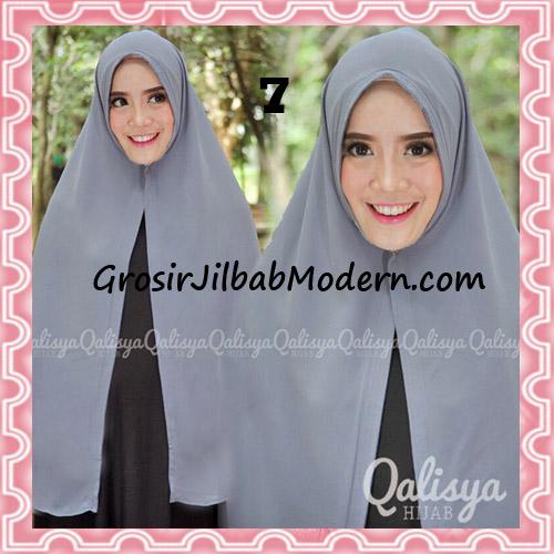 Jilbab Pashmina Khimar Lipit Cantik Original Qalisya Brand No 7 Abu Abu